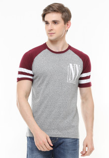 Slim Fit - Kaos Casual Active - Lengan Garis - Abu