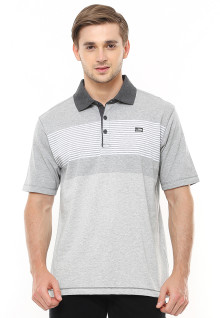 Regular Fit - Polo Casual - Motif Garis Placket - Abu