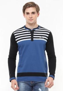 Slim Fit - Kaos Fashion - Salur Placket - Kombinasi Warna - Biru