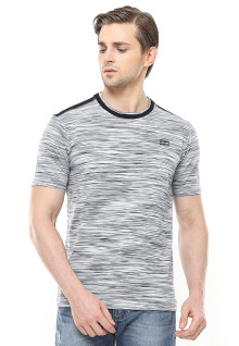 Slim Fit - Kaos Fashion - Full Motif - Stripe - Abu