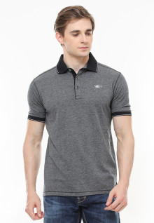 Slim Fit - Polo Fashion - Kontras Warna - Aksen Ring Hitam - Abu