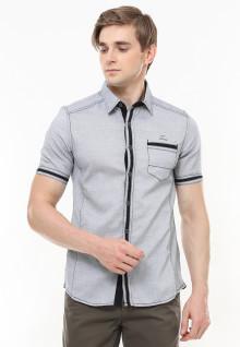 Slim Fit - Kemeja Fashion - Aksen Ring Hitam - kantong Satu - Abu