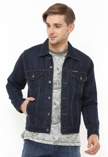 Jaket Denim - Double Pocket - Model Kancing - Biru