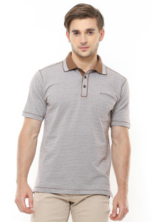 Regular Fit - Polo Shirt - Contrast Collar - Kantong Satu - Coklat