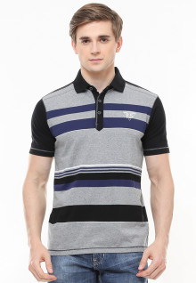 Slim Fit - Polo Fashion - Motif Garis - Variasi Warna - Abu