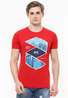 Slim Fit - Kaos Youth - Gambar Sablon - NYC - Merah