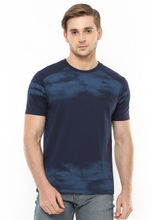 Slim Fit - Kaos Fashion - Abstrak - Lengan Garis - Navy