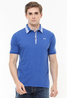 Slim Fit - Polo Fashion - Kontras Warna - Kancing Tiga - Biru