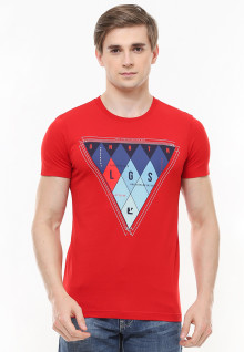Slim Fit - Kaos Youth - Gambar Sablon Variasi Warna - Merah