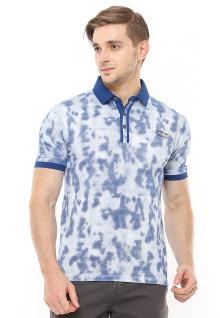 Slim Fit - Polo Shirt - Motif Camouflage - Kancing Tiga - Aksen Ring - Biru