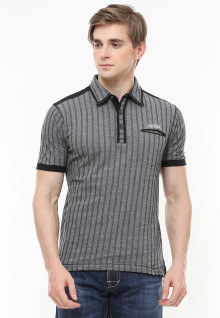 Slim Fit - Polo Fashion - Motif Salur - Abu