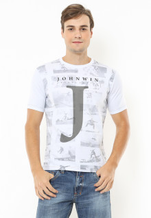 Slim Fit - Kaos Casual Active - Gambar Sablon - Putih