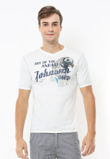 Slim Fit - Kaos Casual Active - Bird - Putih