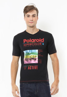 Slim Fit - Kaos Casual Active - Polaroid - Hitam