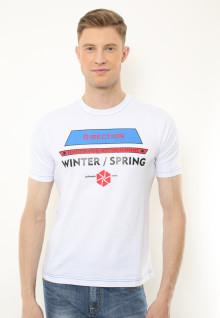 Slim Fit - Kaos Casual Active - Sablon Direction - Putih