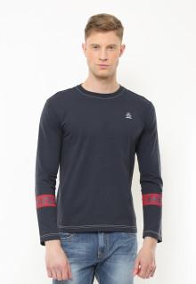Slim Fit - Kaos Casual - Lengan Panjang Garis Merah - Hitam