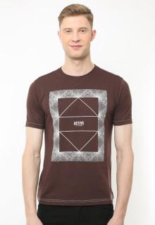 Slim Fit - Kaos Casual Active - Motif Sablon Active - Coklat