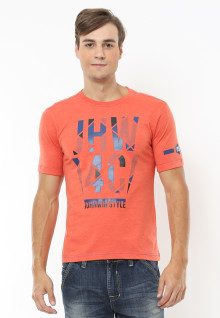 Slim Fit - Kaos Casual Active - Style - Orange