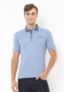 Slim Fit - Polo Active - Kerah Kontras - Biru