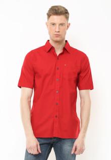 Regular Fit - Kemeja Casual - Full Corak Satu Warna - Merah
