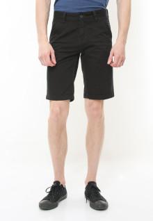 Regular Fit - Celana Pendek Casual - Motif Hitam Polos - Hitam