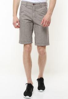 Regular Fit - Celana Pendek Casual - Motif Garis Lurus- Coklat Muda