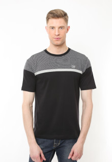 Regular Fit - Kaos Casual - Kombinasi Dua Warna - Hitam