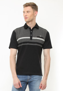 Regular Fit - Polo Casual - Motif Kombinasi Warna - Hitam