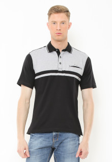 Regular Fit - Polo Casual - Kombinasi Two Tone Warna - Hitam