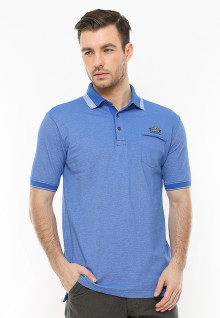 Regular Fit - Polo Casual - Kerah Kontras - Biru
