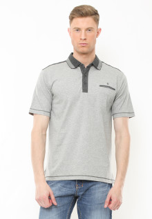 Regular Fit - Polo Casual - Motif Full Warna - Abu