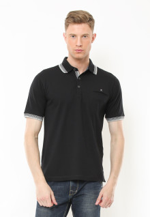 Regular Fit - Polo Casual - Motif Full Warna - Hitam