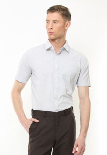 Regular Fit - Kemeja Formal - Motif Corak Garis - Putih