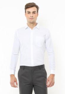 Slim Fit - Kemeja Formal - Corak Polos Garis Halus Vertikal - Putih