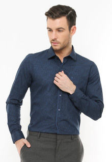 Slim Fit - Kemeja Formal - Full Corak - Biru Navy