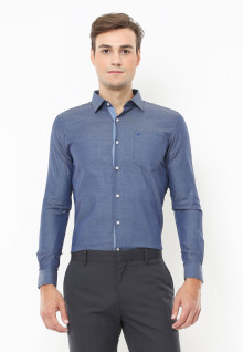 Slim Fit - Kemeja Formal - Corak Full Dot - Biru