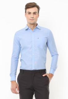 Slim Fit - Kemeja Fashion - Motif Garis Halus - Biru