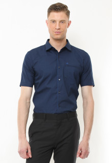 Slim Fit - Kemeja Formal - Motif Corak Segitiga - Navy
