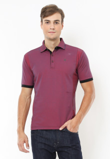 Slim Fit - Polo Fashion - Motif Corak Washed - Merah