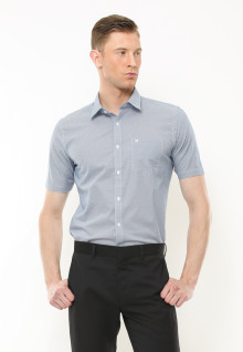 Slim Fit - Kemeja Formal - Motif Polkadot - Putih