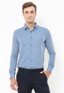 Slim Fit - Kemeja Formal - Motif Corak Garis - Biru