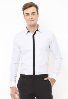 Slim Fit - Kemeja Formal - Motif Full White Garis Tengah