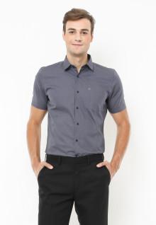 Slim Fit - Kemeja Formal -  Motif Corak Penuh  - Abu