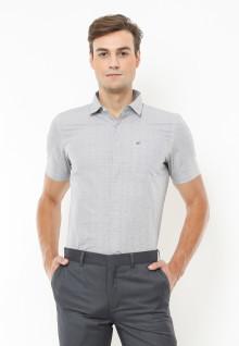 Slim Fit - Kemeja Formal - Motif Full Corak - Putih