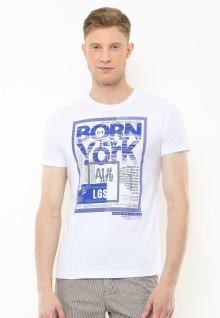 Slim Fit - Kaos Youth - Motif Sablon Born in New York - Putih