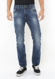 Slim Fit - Celana Jeans - Aksen Washed - Biru