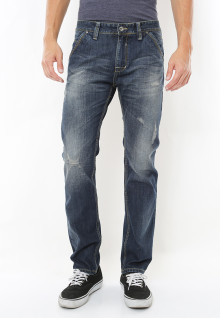 Slim Fit - Celana Jeans - Aksen Washed - Detail Ripped - Biru