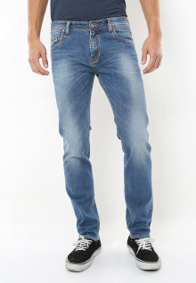 Slim Fit - Jeans Panjang - Aksen Washed - Biru