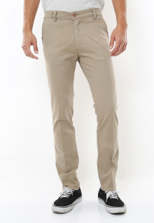 Slim Fit - Celana Chinos - Basic Stretch - Krem