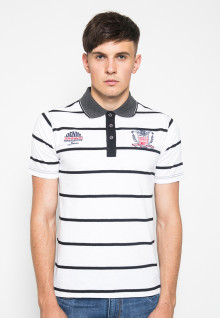 Slim Fit - Polo Shirt - White - With Striped